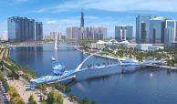 Eco Smart City Thu Thiem nằm ngay cạnh cầu bộ hành bắt qua bến Bạch Đằng Quận 1